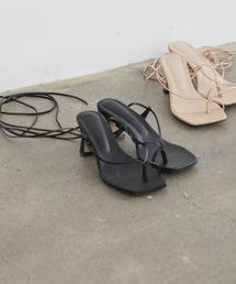 lace up heel sandalブラック