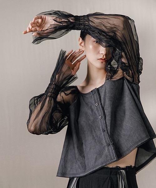 【MURMURMI】Tulle sleeve  jacket chw21a026
