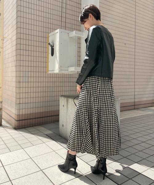 ライダースジャケット×ギンガムスカート