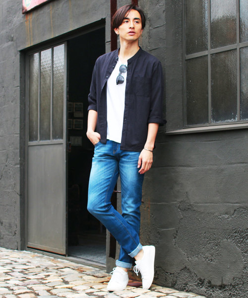 30S高密度ブロード7分袖バンドカラーシャツ