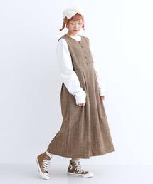 merlot(メルロー)の前ボタンチェックジャンパースカート3462(ジャンパースカート)