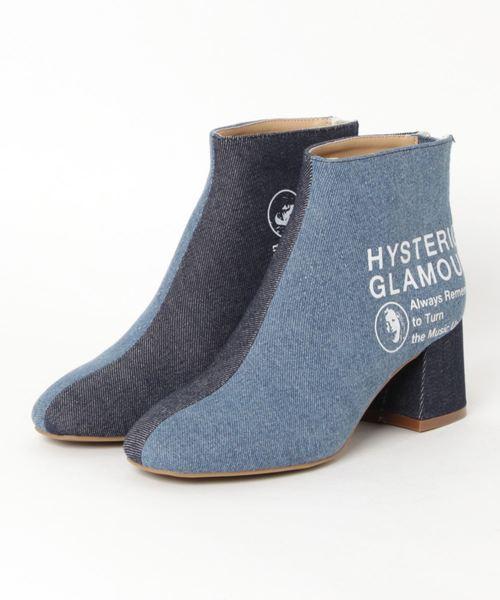 HYSTERIC GLAMOUR(ヒステリックグラマー)の「DENIM CHUNKY HEEL ブーツ(ブーツ)」|インディゴブルー