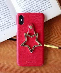 【 Hashibami / ハシバミ 】 # iPhone X/XS スマホ・携帯カバー リング付きケースレッド