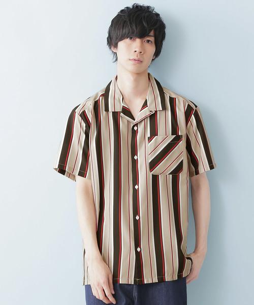 ポリトロマルチストライププリントオープンカラーシャツ(1/2 sleeve)