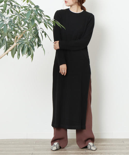 【WEB限定】スリットリブニットロングワンピース