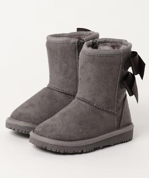 9fd4c35a61e10 petit main(プティマイン)のリボン付きムートンブーツ(ブーツ)