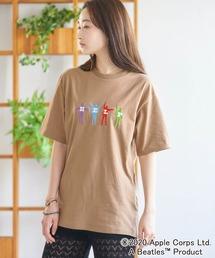 BEATLES/ビートルズ別注 刺繍 半袖Tee オーバーサイズカットソーダークベージュ