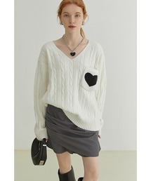 【Fano Studios】【2021AW】V-neck cable knitting love sweater FQ21S107ホワイト
