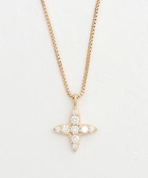 ete(エテ)のK18YGダイヤモンド クロス ネックレス(ネックレス)