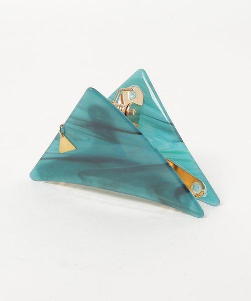 Esime(エシミー)の「三角 バンスクリップ 大きめサイズ(バレッタ/ヘアクリップ)」|グリーン