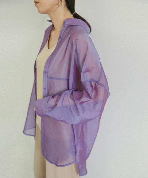 select MOCA(セレクトモカ)の「シースルービックシルエットシャツ/レギュラーカラーロングスリーブルーズシルエットシャツ/シアートップス(シャツ/ブラウス)」|パープル