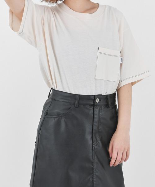 KIRSH(キルシー)の「【ZOZO限定】KIRSH POCKET S/S TEE / ピスネーム 配色ステッチポケットTシャツLC(Tシャツ/カットソー)」|アイボリー