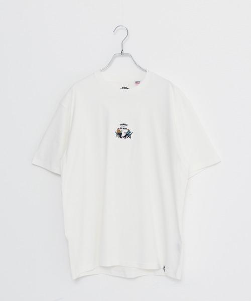USAコットン ヘビーウェイトワンポイントCAMPモチーフ刺繍Tシャツ