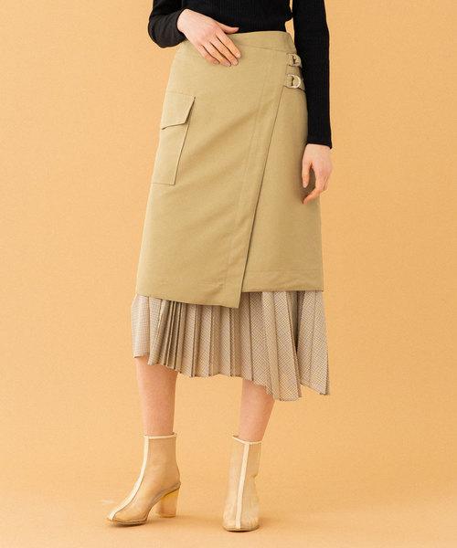 UNITED TOKYO(ユナイテッドトウキョウ)の「プリーツレイヤードラップスカート(スカート)」|ベージュ