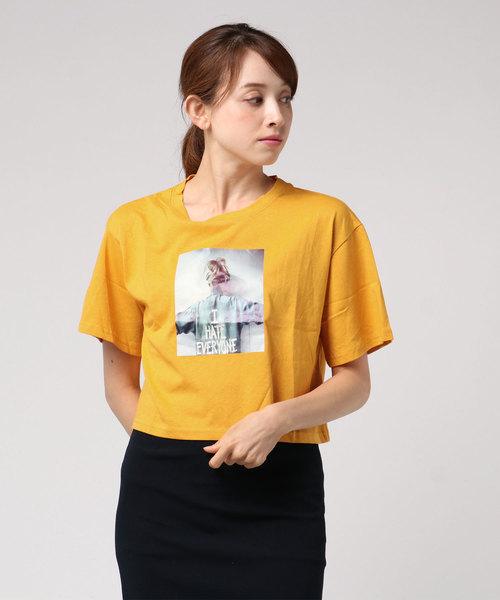 【six mouse】フォトプリントショート丈Tシャツ(丸首)