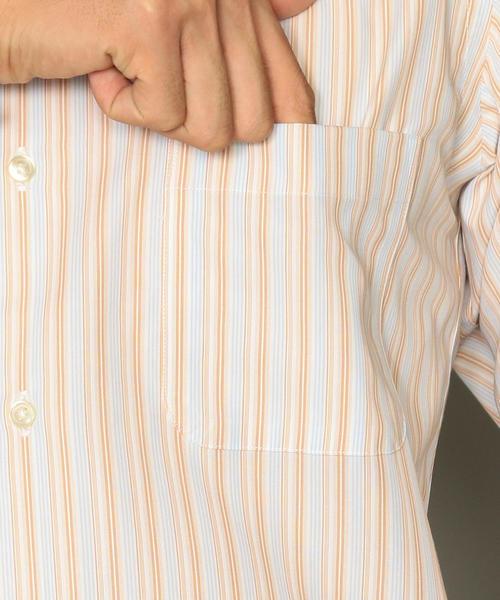 スリム イージーアイロン マルチストライプ ショートワイドカラー シャツ