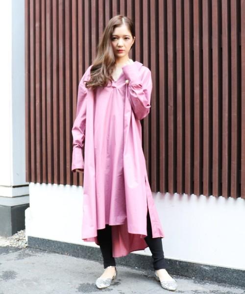 ECLIN(エクラン)の「スキッパーシャツワンピース(ワンピース)」|ピンク