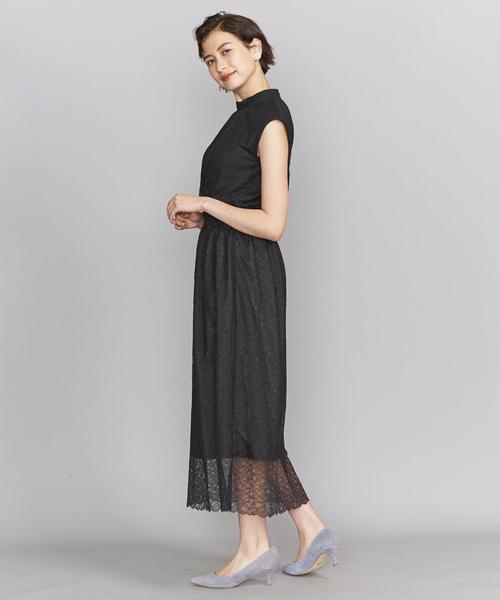 BY DRESS レースハイネックノースリーブドレス ◆