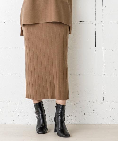 リブニットタイトロングスカート