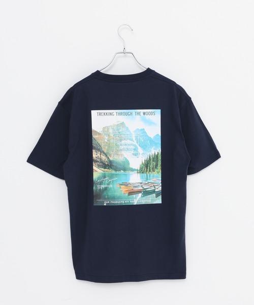 USAコットン ヘビーウェイトグラフィックバックプリントTシャツ/ワンポイントブランドロゴ