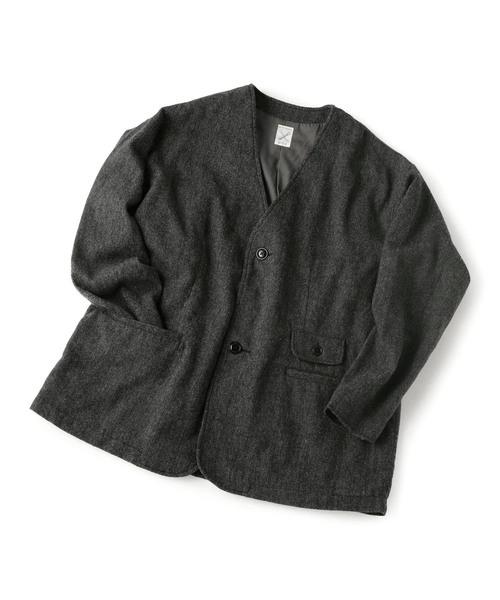 ノーカラージャケット/ツイード
