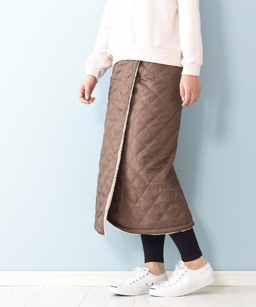 高密度タフタ 裏ボア仕様 撥水加工 キルティング リバーシブルデザイン スカート