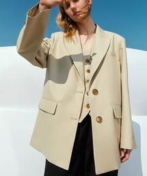 【Fano Studios】【2021SS】2-button Tailored jacket & Layered vest cb-3 FC21T004ライトベージュ