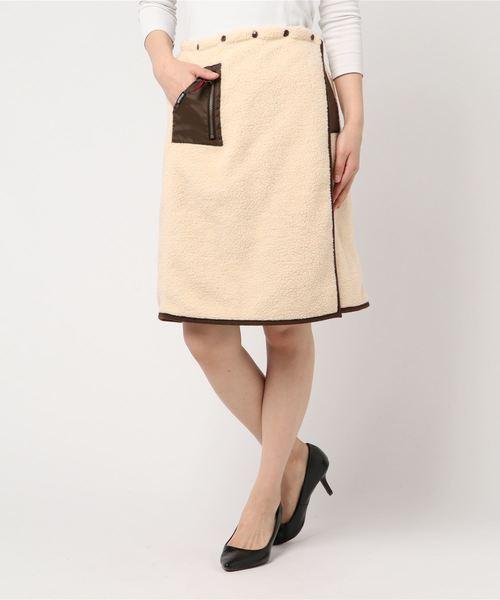 ボア 裏フリース仕様 アウトドアデザイン ワンポイントポケット付き リバーシブルデザイン モコモコ スカート