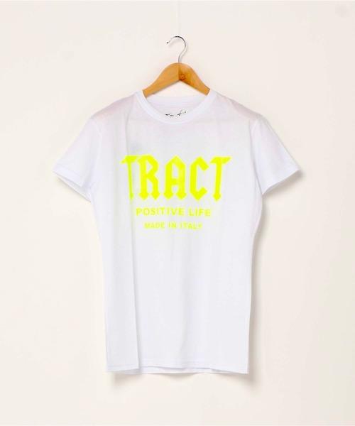 Tract(トラクト)の「T-SHIRT(Tシャツ/カットソー)」|ホワイト×イエロー