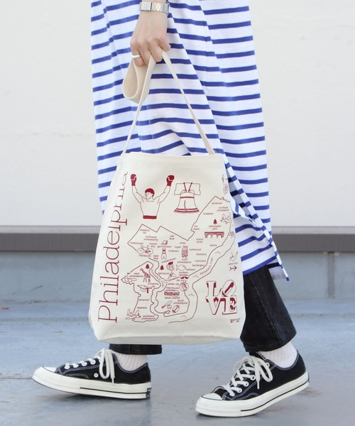 MAP TOTE/マップトート ホーボートートバッグ NATURAL HOBO TOTE
