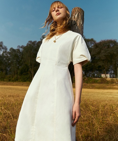 【Fano Studios】【2021SS】Puff sleeve high waist white dress FC21L059