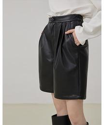 【Fano Studios】【2021AW】High waist straight leather shorts FD21K007ブラック