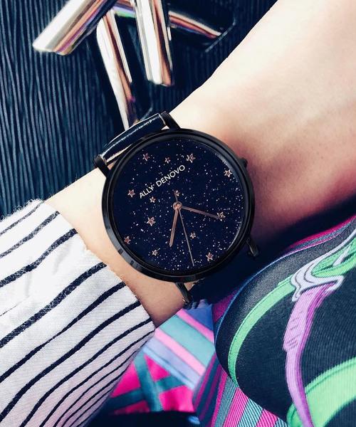 ALLY DENOVO(アリーデノヴォ)の「〈ALLY DENOVO/アリーデノヴォ〉STARRY NIGHT BOX/スターリーナイト ボックス 替えベルトセット(腕時計)」 ブラック×ブラック