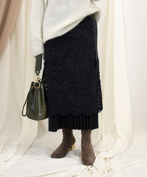 【Eimee Law】レース×プリーツレイヤード3wayスカート
