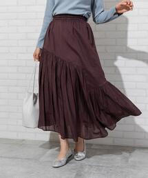 【WEB限定カラー】【7色から選べる】アシンメトリーカラースカート(ロングスカート/マキシスカート)