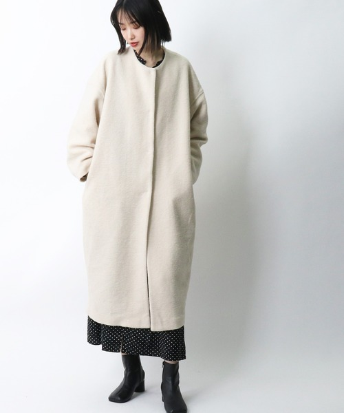 *【MidiUmi】silver knit no collar cocoon coat 3-778172