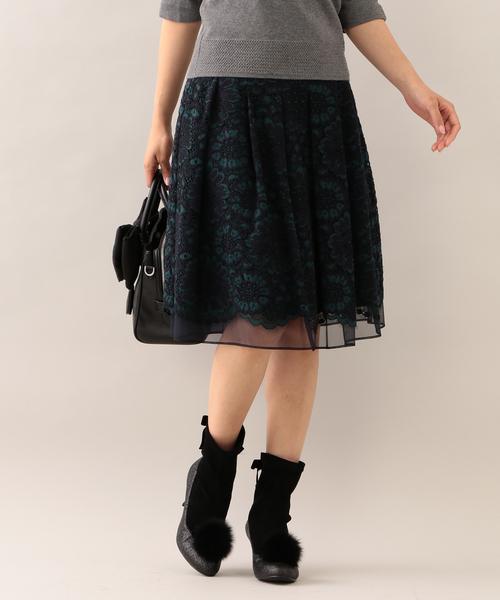 TO BE CHIC(トゥー ビー シック)の「ラッセルレーススカート(スカート)」|グリーン