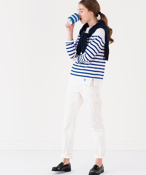 【ORCIVAL】ラッセル フレンチセーラーTシャツ WHT/BLU