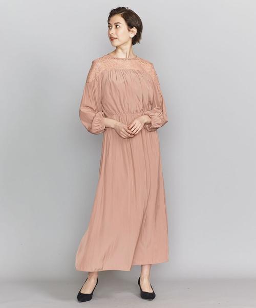 BY DRESS デシン×レース 6分袖ドレス ◆