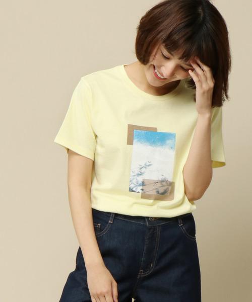 ikka(イッカ)の「プリントTシャツ(Tシャツ/カットソー)」|レモンイエロー