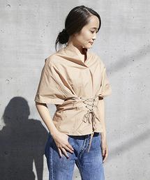 【STYLEBAR】コルセットデザインシャツブラウスベージュ