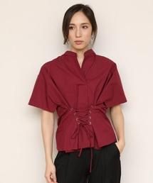 【STYLEBAR】コルセットデザインシャツブラウスワインレッド