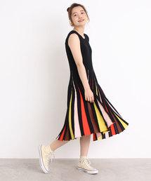 Dot&Stripes CHILD WOMAN(ドットアンドストライプス チャイルドウーマン)の強撚綿アクリル マルチボーダーノースリワンピース(ワンピース)