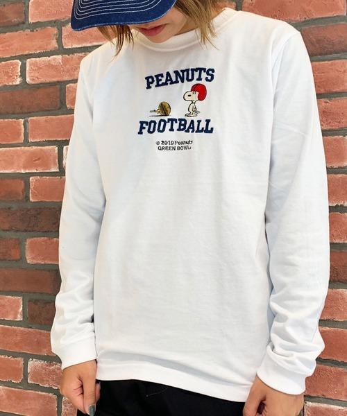 SNOOPY×OLD BETTY'S(スヌーピーカケルオールドベティーズ)の「SNOOPY Embroidery Long Sleeve T-shirts/スヌーピー 刺繍 長袖 Tシャツ ロンT(Tシャツ/カットソー)」|ホワイト系その他2