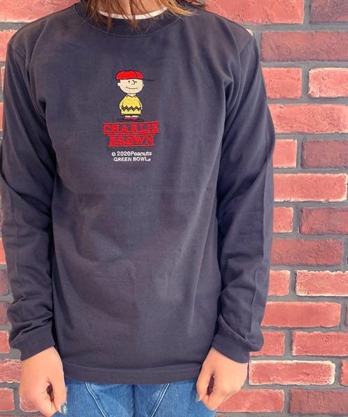 SNOOPY×OLD BETTY'S(スヌーピーカケルオールドベティーズ)の「SNOOPY Embroidery Long Sleeve T-shirts/スヌーピー 刺繍 長袖 Tシャツ ロンT(Tシャツ/カットソー)」|ブラック系その他5