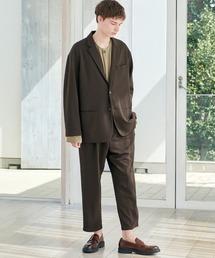 【セットアップ】梨地ルーズリラックス オーバーサイズ テーラードジャケット&テーパードワイドパンツ EMMA CLOTHES 2021 S/Sダークブラウン