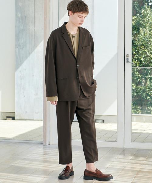 EMMA CLOTHES(エマクローズ)の「【セットアップ】梨地ルーズリラックス ドレープ オーバーサイズ テーラードジャケット/テーパードワイドパンツ EMMA CLOTHES 2020AW(セットアップ)」|ダークブラウン