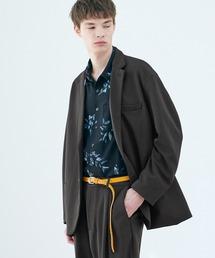 【セットアップ】梨地ルーズリラックス オーバーサイズ テーラードジャケット&テーパードワイドパンツ EMMA CLOTHES 2021 S/Sグレー系その他