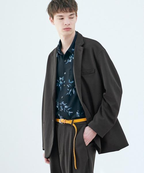 【セットアップ】梨地ルーズリラックス オーバーサイズ テーラードジャケット&テーパードワイドパンツ EMMA CLOTHES 2021 SPRING