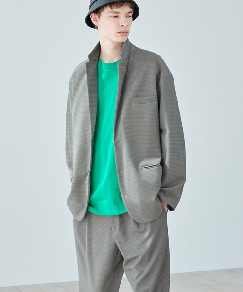 EMMA CLOTHES(エマクローズ)の「【セットアップ】梨地ルーズリラックス ドレープ オーバーサイズ テーラードジャケット/テーパードワイドパンツ EMMA CLOTHES 2020AW(セットアップ)」|ブラウン系その他